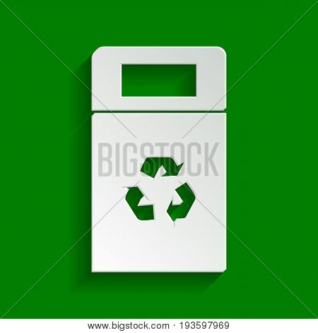 Trashcan sign illustration. Vector. Paper whitish icon with soft shadow on green background.