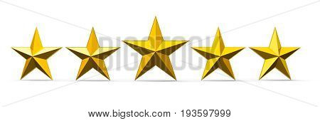 Five golden rating stars isolated on white background three-dimensional rendering 3D illustration