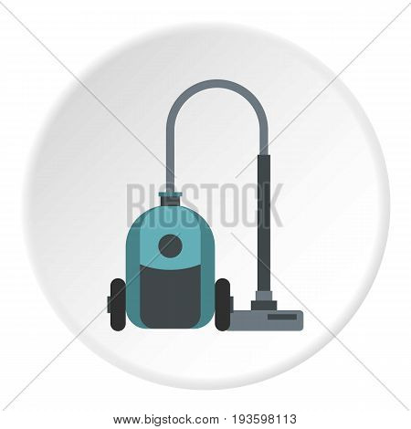 Vacuum cleaner icon in flat circle isolated vector illustration for web