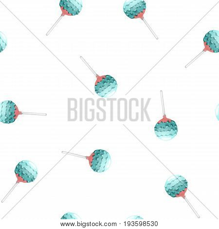 Seamless pattern of cake pops on a stick, isolated on a white background. Food background in vector