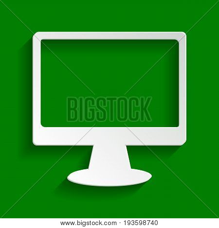 Monitor with brush sign. Vector. Paper whitish icon with soft shadow on green background.