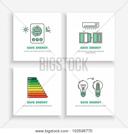 Vector posters save energy during everyday use of the home. Set of banners concept-saving energy consumption.