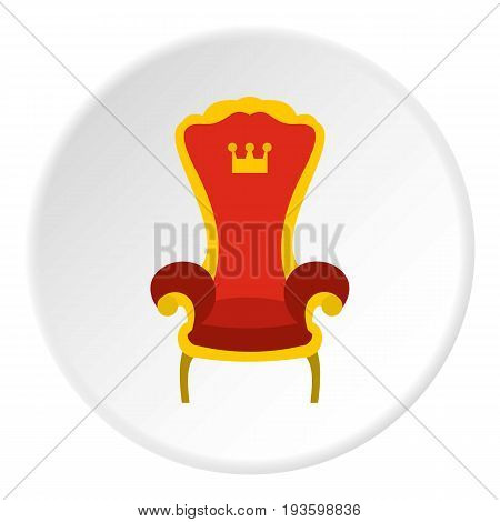 Red royal throne icon in flat circle isolated vector illustration for web