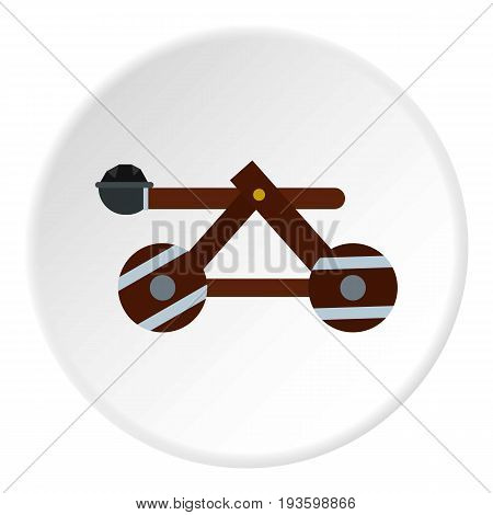 Medieval siege catapult icon in flat circle isolated vector illustration for web