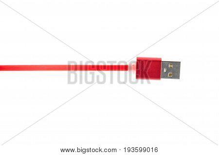 Red Usb Connector Cable On White Isolated Background. Horizontal Frame