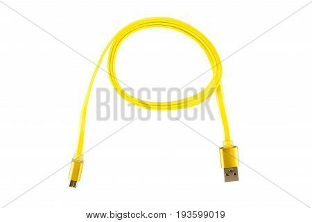 Yellow Micro-usb Cable Twisted Into A Ring, On A White Isolated Background. Horizontal Frame