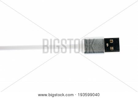 White Usb Connector Cable On White Isolated Background. Horizontal Frame
