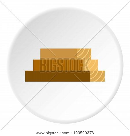 Wooden boards icon in flat circle isolated vector illustration for web