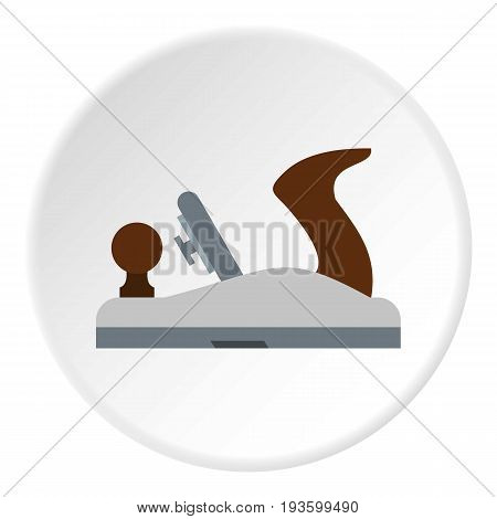 Planer on wood icon in flat circle isolated vector illustration for web