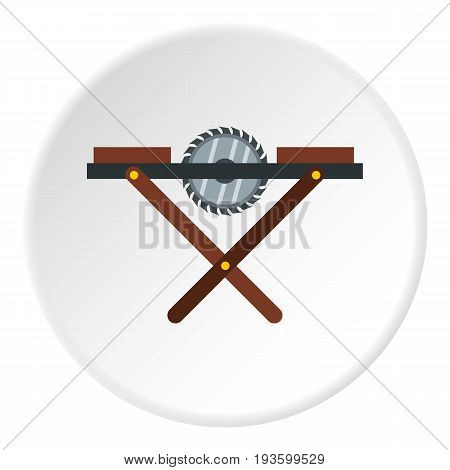 Movable circular saw icon in flat circle isolated vector illustration for web