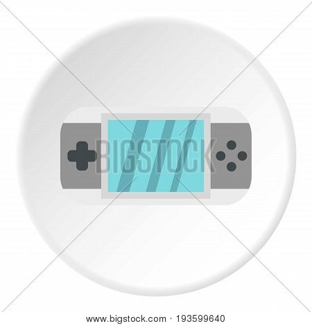 PSP icon in flat circle isolated vector illustration for web