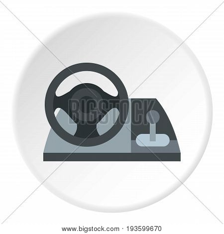 Gaming steering wheel icon in flat circle isolated vector illustration for web