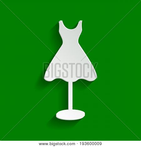 Mannequin with dress sign. Vector. Paper whitish icon with soft shadow on green background.