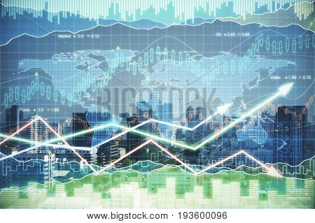 Forex chart on illuminated night city background. Stock exchange concept. Double exposure