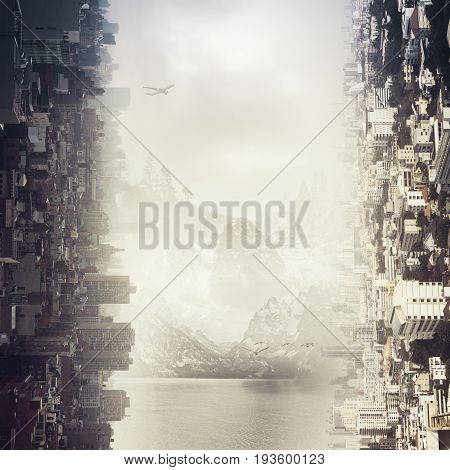 Abstract sideways city and landscape backdrop, close up