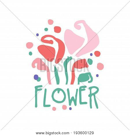 Flower logo template colorful hand drawn vector Illustration, badge for flower shop, company identity