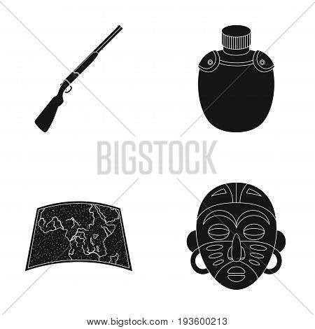 Hunting rifle, flask in the case, map, African mask. African safari set collection icons in black style vector symbol stock illustration .