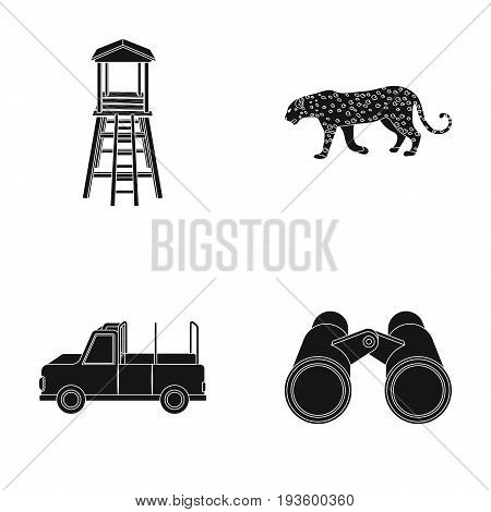 Observation tower for the hunter, leopard, hunting machine, binoculars. African safari set collection icons in black style vector symbol stock illustration .