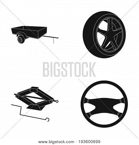 Caravan, wheel with tire cover, mechanical jack, steering wheel, Car set collection icons in black style vector symbol stock illustration.