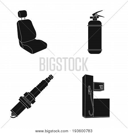 Chair with headrest, fire extinguisher, car candle, petrol station, Car set collection icons in black style vector symbol stock illustration .