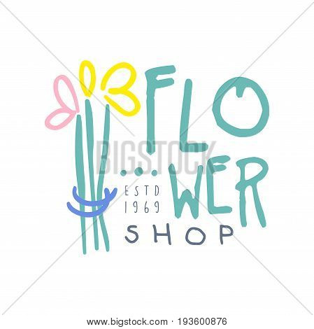 Shop flower logo template hand drawn vector Illustration in blue colors, badge for flower shop, company identity