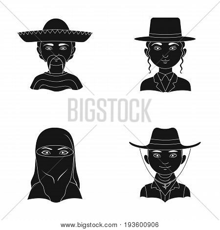 A mexican, a jew, a woman from the middle east, an american. The human race set collection icons in black style vector symbol stock illustration .