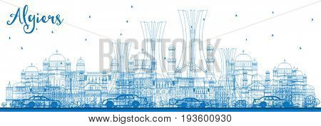 Outline Algiers Skyline with Blue Buildings. Business Travel and Tourism Concept. Image for Presentation Banner Placard and Web Site.