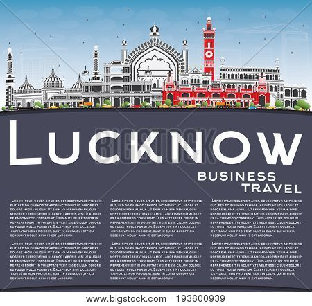 Lucknow Skyline with Gray Buildings, Blue Sky and Copy Space. Business Travel and Tourism Concept with Modern Architecture. Image for Presentation Banner Placard and Web Site.