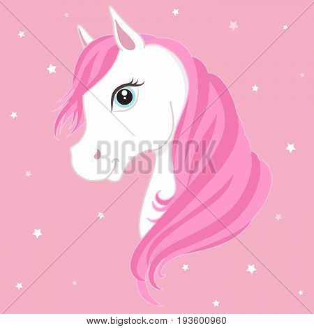 White pony head with pink mane. White horse.