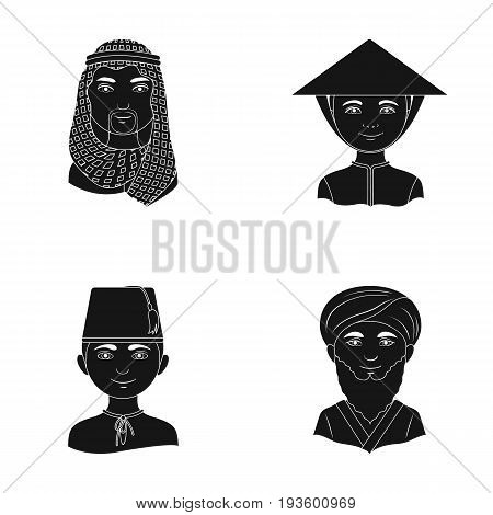 Arab, turks, vietnamese, middle asia man. Human race set collection icons in black style vector symbol stock illustration .