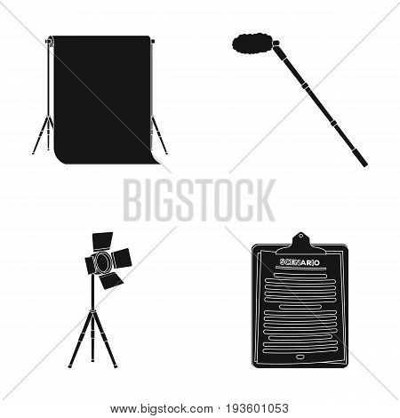 Hromakey, script and other equipment. Making movies set collection icons in black style vector symbol stock illustration .