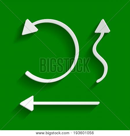 Simple set to Interface Arrows. Vector. Paper whitish icon with soft shadow on green background.