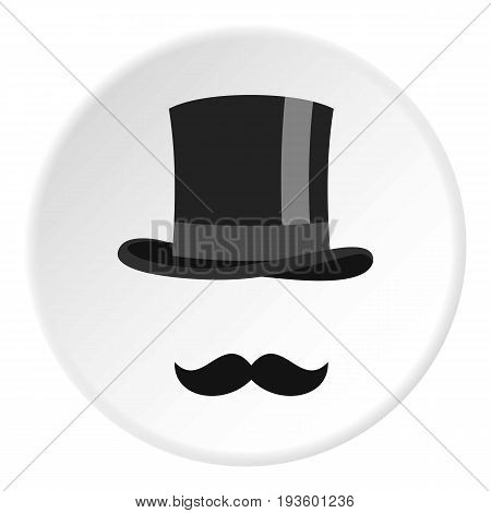 Cylinder and moustaches icon in flat circle isolated vector illustration for web