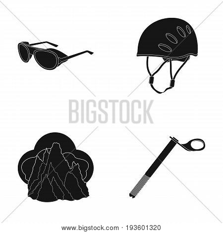 Helmet, goggles, wedge safety, peaks in the clouds.Mountaineering set collection icons in black style vector symbol stock illustration .