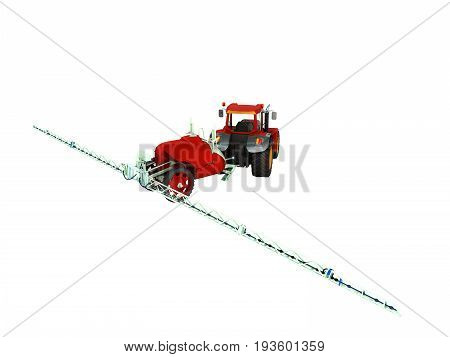 Watering Of Crops By Tractor 3D Render On White Background No Shadow