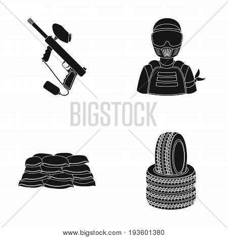 Paintball marker, player and other accessories. Paintball single icon in black style vector symbol stock illustration .
