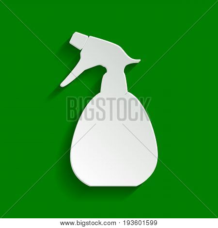 Spray bottle for cleaning sign. Vector. Paper whitish icon with soft shadow on green background.