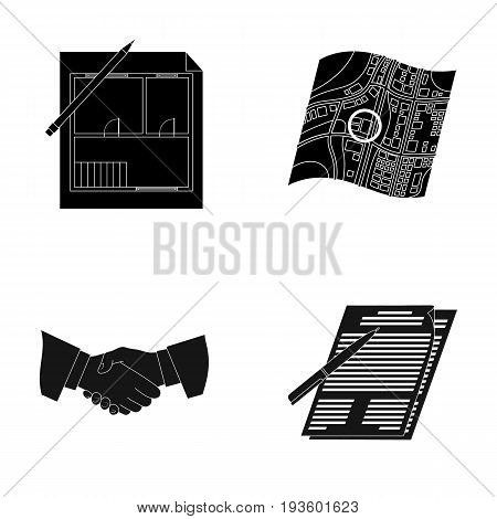 House plan, documents for signing, handshake, terrain plan. Realtor set collection icons in black style vector symbol stock illustration .