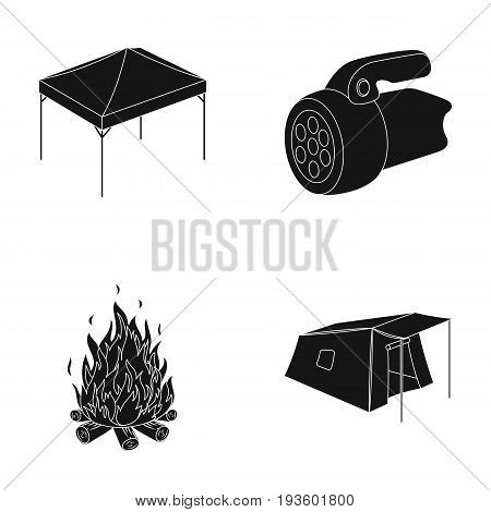 Awning, fire and other tourist equipment.Tent set collection icons in black style vector symbol stock illustration .