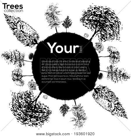 Vector Trees collection. Ink sketched frame with trees