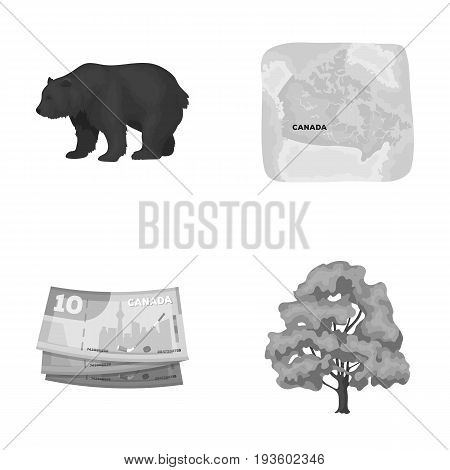 Canadian dollar, territory map and other symbols of the country.Canada set collection icons in monochrome style vector symbol stock illustration .