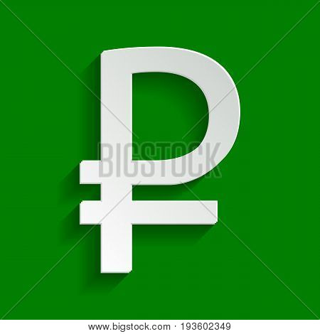 Ruble sign. Vector. Paper whitish icon with soft shadow on green background.