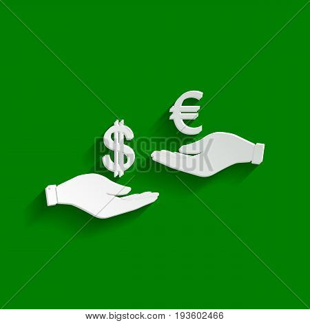 Currency exchange from hand to hand. Dollar adn Euro. Vector. Paper whitish icon with soft shadow on green background.