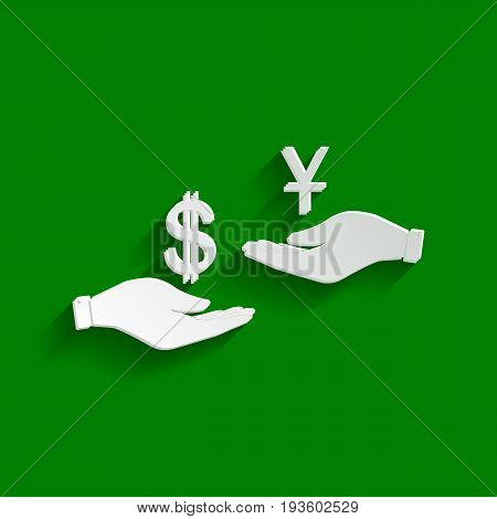 Currency exchange from hand to hand. Dollar and Yuan. Vector. Paper whitish icon with soft shadow on green background.