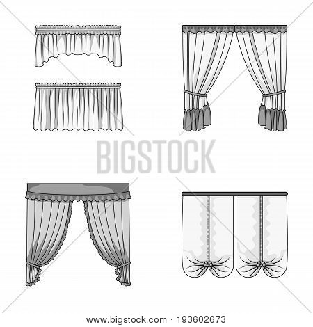 Different types of window curtains.Curtains set collection icons in monochrome style vector symbol stock illustration .
