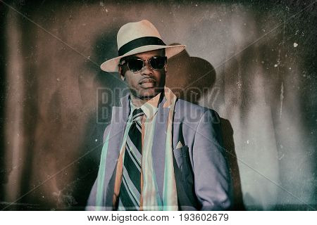 Old Worn Vintage Photo Of African American Gangster.