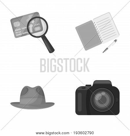 Camera, magnifier, hat, notebook with pen.Detective set collection icons in monocrome style vector symbol stock illustration .