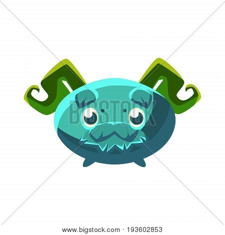 Cute fantastic plant character oval shape with mustache, nature element cartoon vector Illustration isolated on a white background