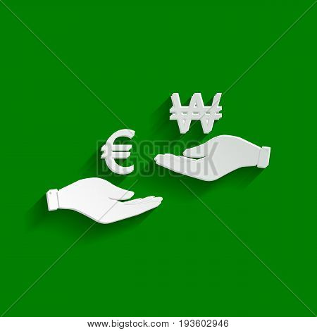 Currency exchange from hand to hand. Euro and Won. Vector. Paper whitish icon with soft shadow on green background.