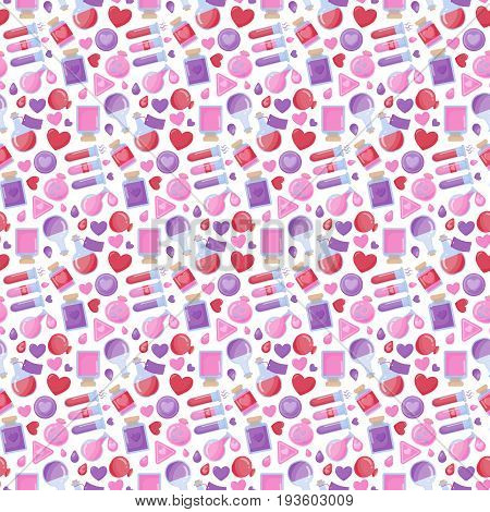 Love potion vector seamless pattern Flat design oof Valentine day romantic or magical symbols isolated on the white background vector illustration with swatch